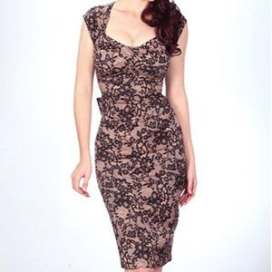Stop Staring! Retro Love Lace Dress Pink Lace 50s